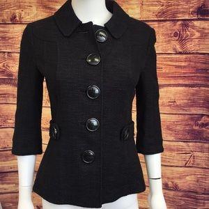 Tory Burch Black Tweed Big Button Blazer
